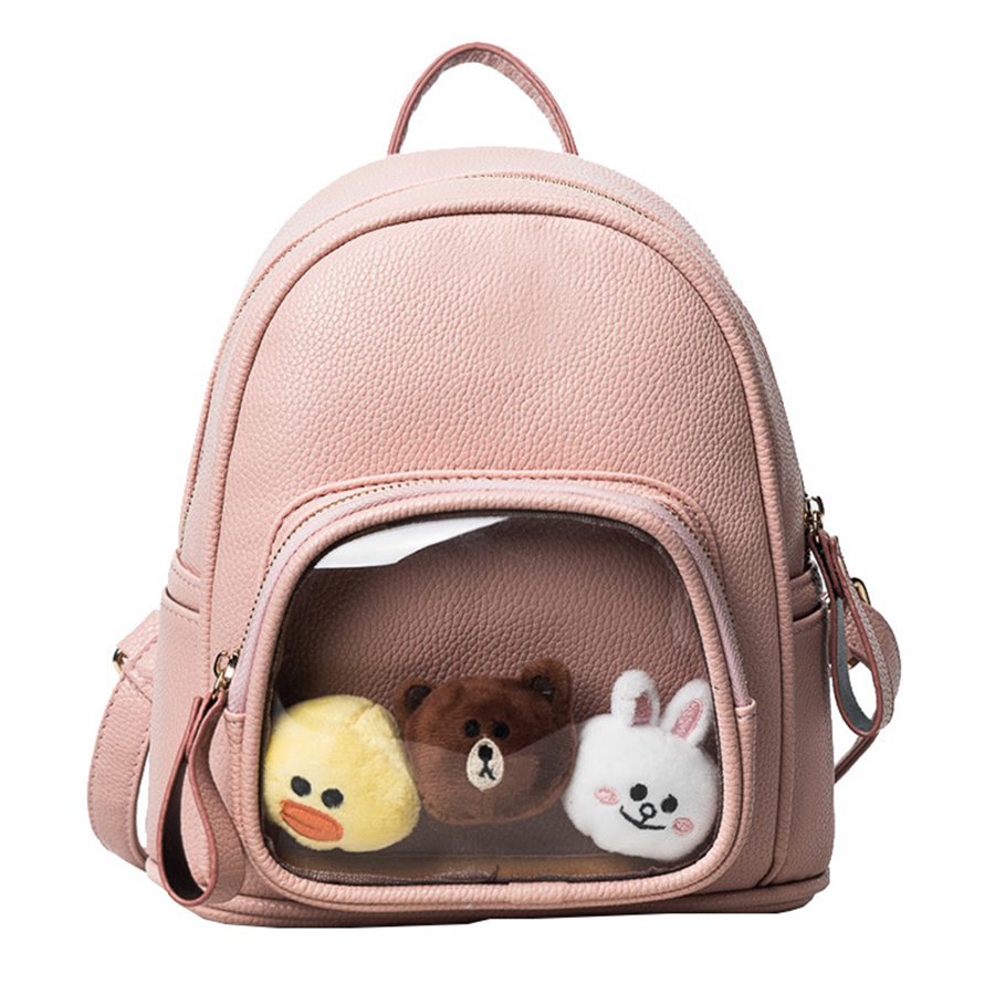 где купить  Lovely PU Leather Backpacks Women Candy Color Transparent Bag Children School Bag Teenage Girls Travel Bags Itabag 2017 Bolsa  по лучшей цене