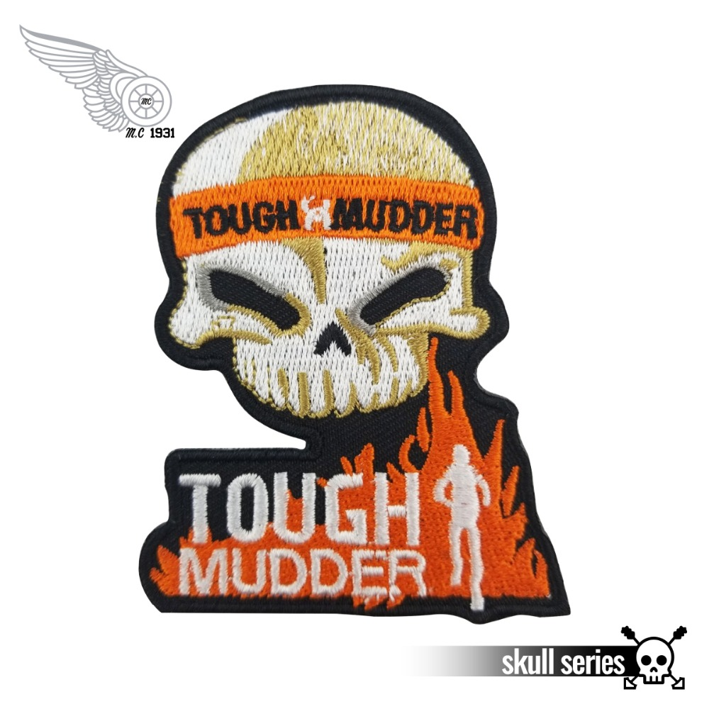 EMBROIDERED LARGE PATCH ROCKER PATCHES iron-on BLACK//ORANGE 2 LIVE TO RIDE