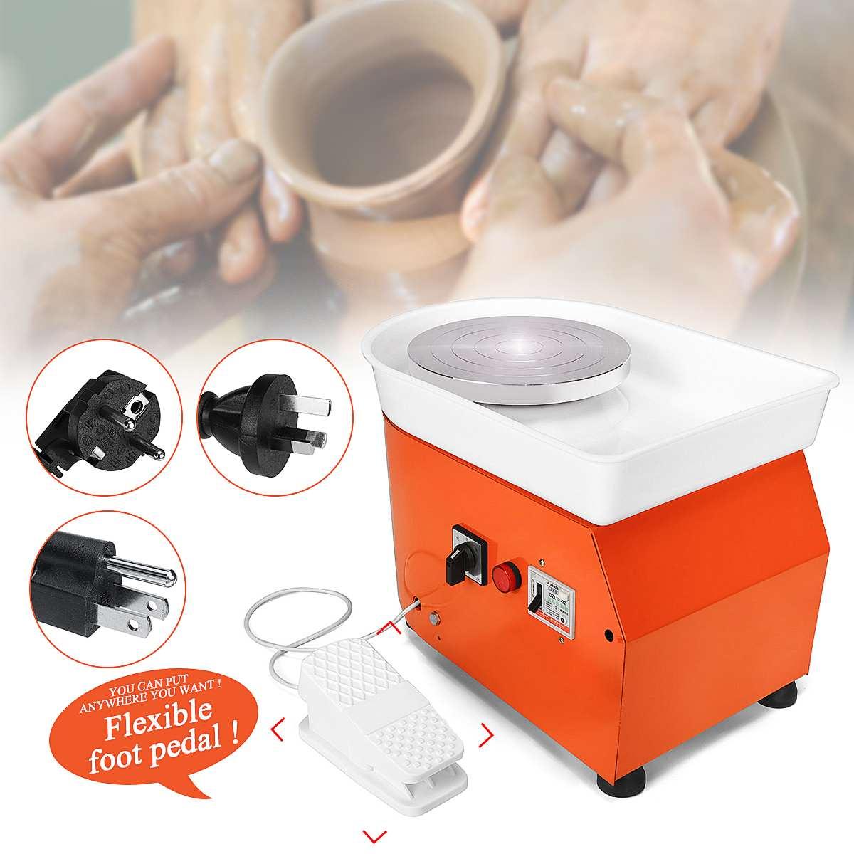 25 cm AC 110 V/220 V poterie roue Machine céramique travail céramique argile Art avec pédale Mobile métal + alliage d'aluminium 42x52x35 cm - 3
