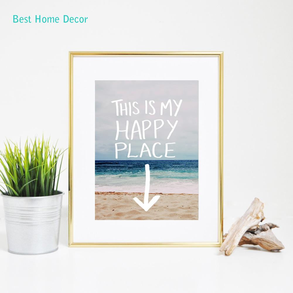 This is my happy place quotes wall art beach decor for Places to get home decor
