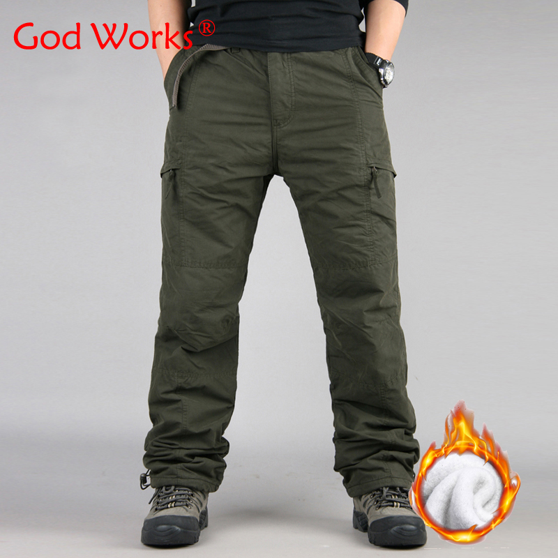 Winter Double Layer Men S Classic Cargo Pants Warm Thick