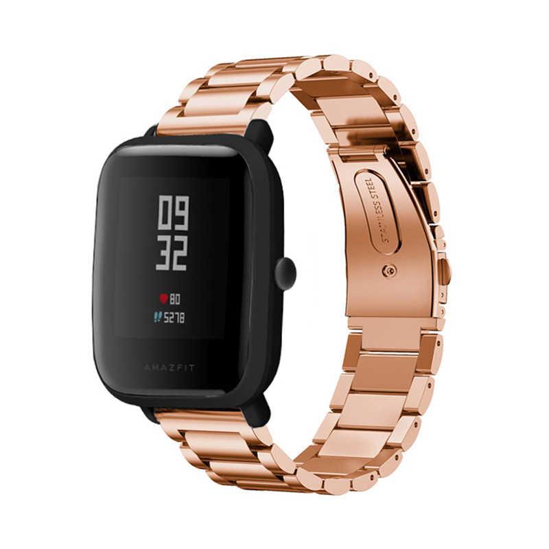 Correa de acero inoxidable para correa de reloj Amazfit Bip de repuesto para Xiaomi pulsera Huami Amazfit para muñeca Huami Amazfit Bip Bit