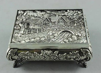 TNUKK Elaborate Chinese Collectible Decorated Old Tibetan Silver Carved Castle Matter Jewel Box ...
