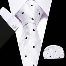 New White Black Dot men ties set Extra Long Size 145cm*8cm Necktie 100%Silk Jacquard Woven Neck Tie Suit Wedding Party