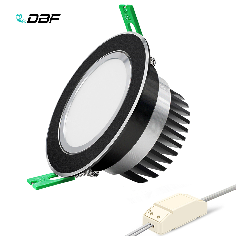 [DBF]Round Black Epistar COB Spot Lamp 5W 7W 10W 12W LED Ceiling Recessed Downlight With AC 110V/220V LED Driver For Home Decor