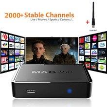 10 unid Linux Mag250 IPTV Caja Más de 2000 + Europa Árabe Canales de Soporte Estable M3U Playlist Acosador Multi Portal USB WIFI