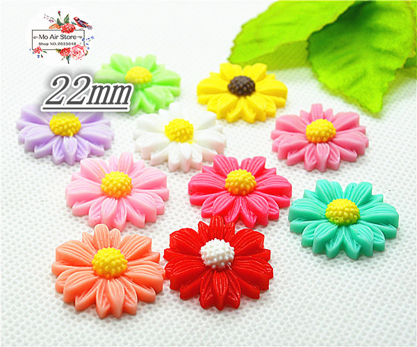 50pcs 22mm Mixed Color flower daisy resin flatback cabochon DIY jewelry/phone decoration No Hole