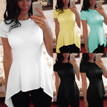 9 Colors Celmia Women Sexy Summer Peplum Tops 2020 Fashion Short Sleeve Slim Tunic Blouse Solid Blusa Feminina Plus Size Shirt