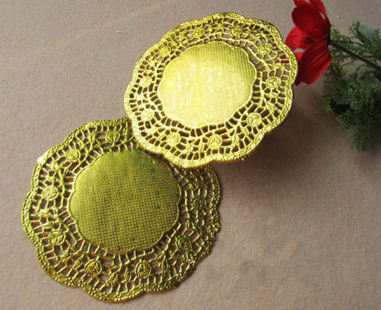 7.5 Inch Gold Round Restaurant Doily Table Dish Place Mat Cake Food Paper Pad Doilies Baking Party Decoration