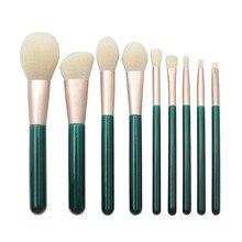 Профессиональный набор кистей для макияжа 9 шт., темно-экологическая зеленая ручка, порошок для теней для век, Кисти косметические