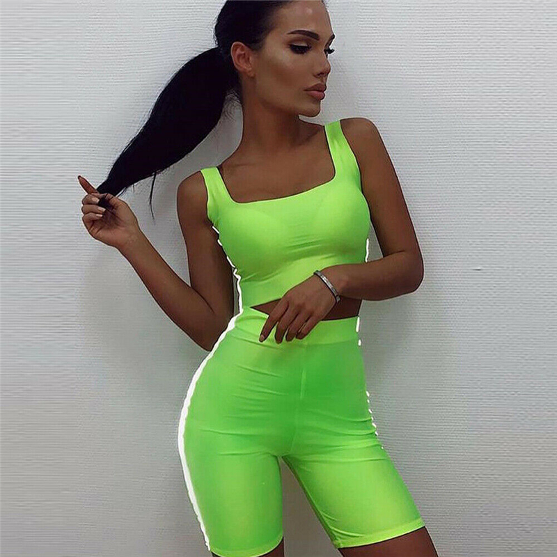 Sexy Women Slim Fluorescent Sport Clothes Sets Bandage Crop Tops High Waist Shorts Striped Summer Outfits Sets