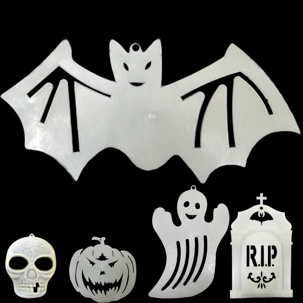 zxz halloween skull head bat pumpkin ghost luminous window stickers decals decoration reusable self cling glow in the dark - Halloween Window Clings