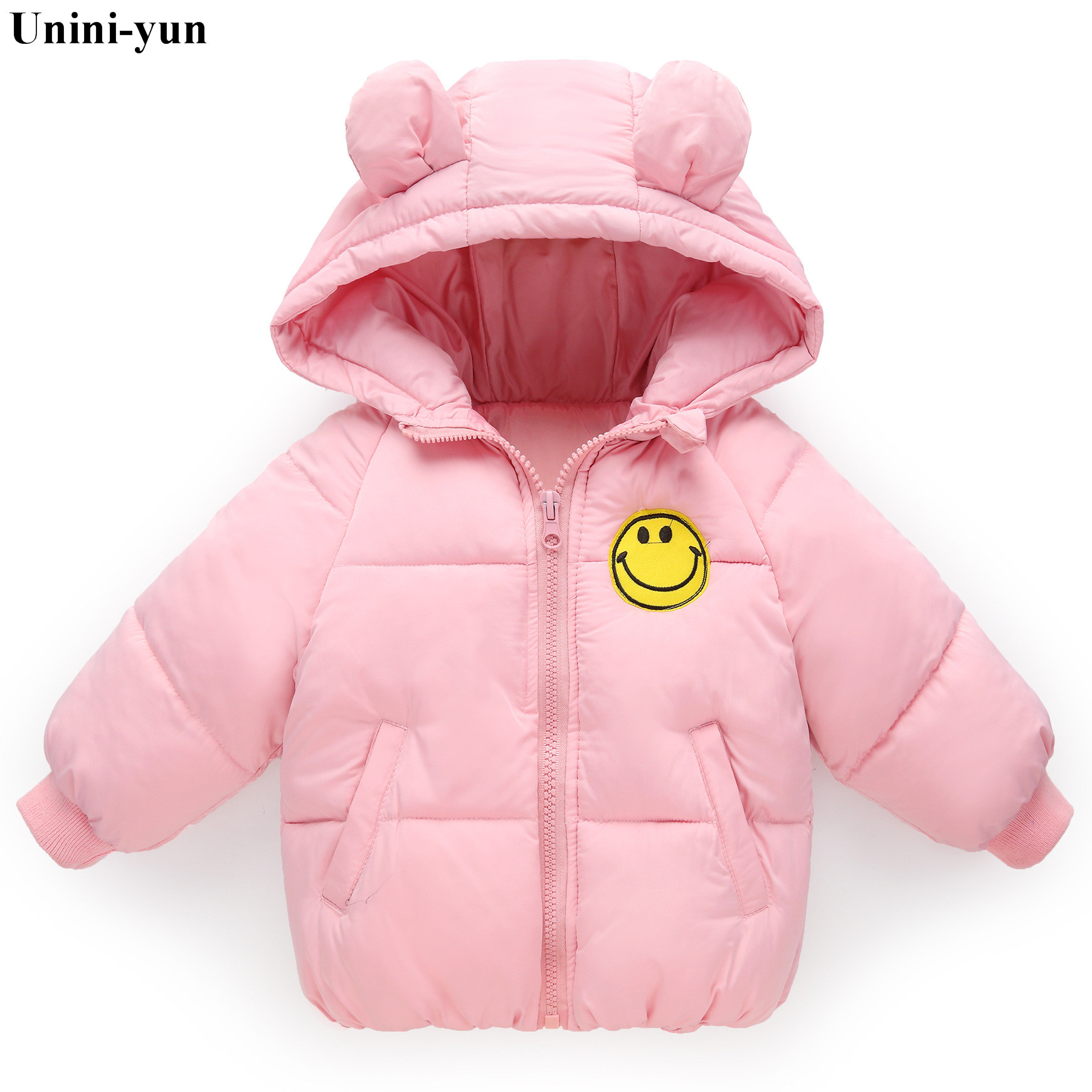 Childrens Lightweight Solid Color Cartoon Rabbit Ears Hooded Down Cotton Jacket