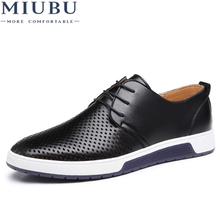 MIUBU New 2019 Men Casual Shoes Leather Summer Breathable Holes Luxury Brand Flat for Drop Shipping