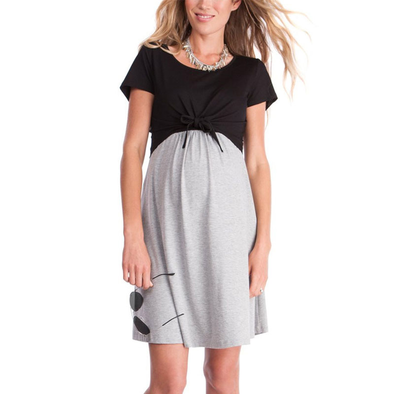 Short Sleeve Nursing Dresses Maternity Feeding Clothes For Pregnant Women Breastfeeding Dress Pregnancy Clothing Dress Fashion