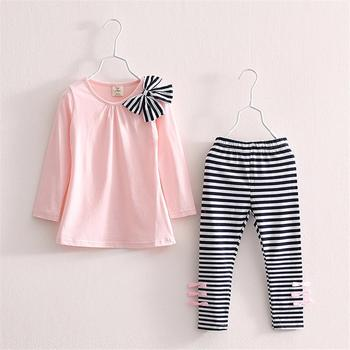 3 4 5 6 7 8 Year Girls Clothes 2018 New Cotton Casual Children Clothing Set Long Sleeve Shirts Striped Leggings Baby Kids Suits conjuntos casuales para niñas