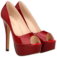 Spring & Summer Da Bằng Sáng Chế Mới Bow Peep Toe Phụ Nữ Dép Đa Màu Sắc Nền Tảng Khối 14 cm Mỏng Cao Gót giày bơm