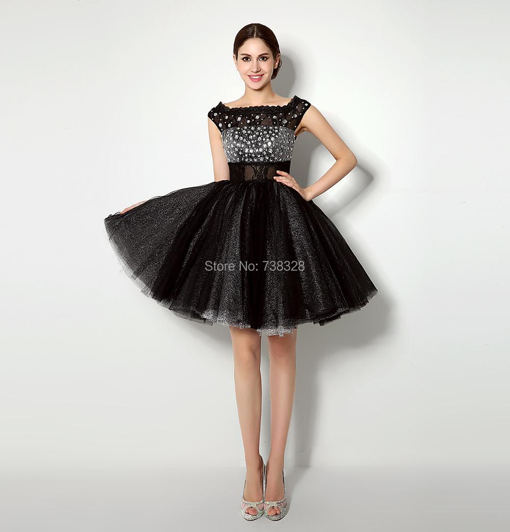 0cea34ca2 2016 Nueva Moda Cortos Vestidos de Fiesta para Niñas de Encaje Negro  Vestidos 2015 Vestido de Fiesta Formal con Rebordear Vestido de Envío Rápido