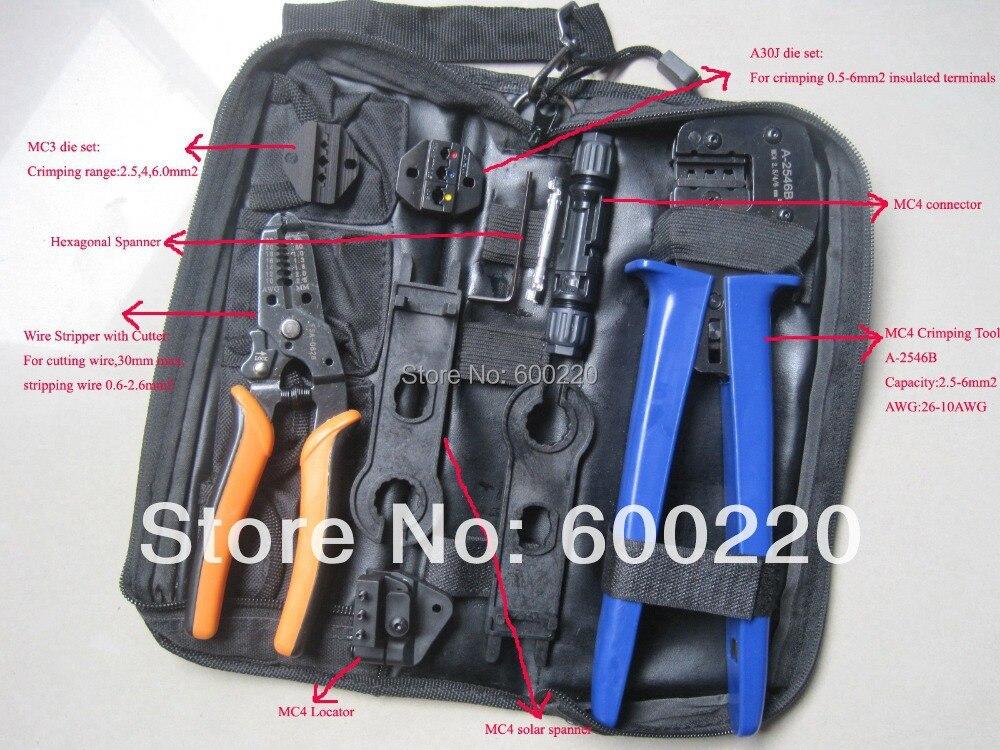 цена на MC4/MC3 Crimper/Solar pv Crimping Tool Kits for 2.5-6.0mm2 MC3/MC4 connectors multi tool set