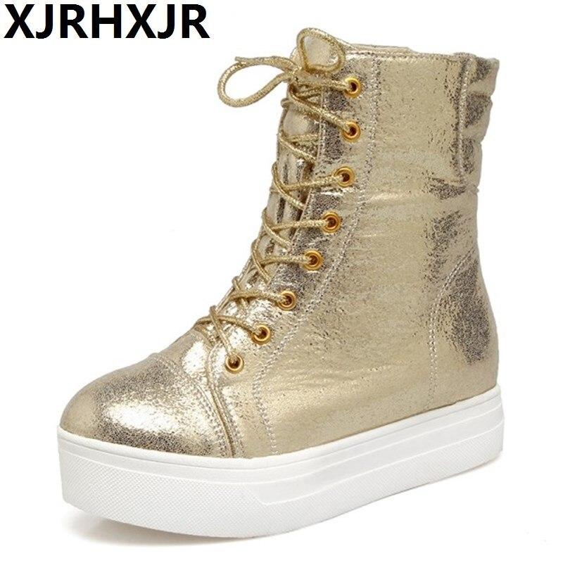 Mode dames talons hauts croix sangle Rock bottes femmes hauteur augmentant plate-forme chaussures à lacets épais en peluche bottines hiver