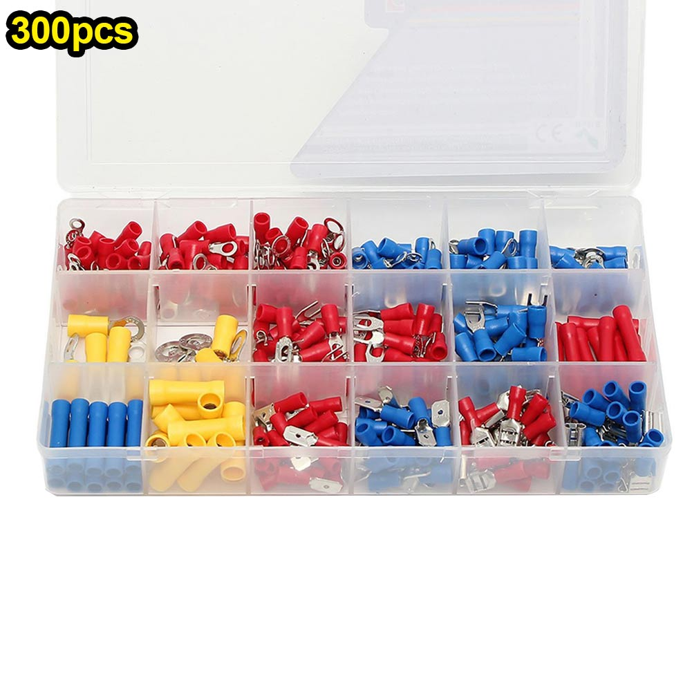 1Set Electrical Connector Kit Mixed Assorted Insulated Wire Crimp Terminals Sleeve With Plastic Box  ALI88 1000pcs electrical wire connector insulated crimp terminals kit spade assorted set fork ring assorted set with box