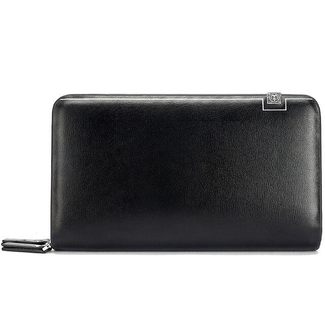 Double Zipper Leather Male Long Wallet