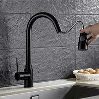 New Arrival Kitchen Pull Out Faucet Black Painted Flexible Hot And Cold Mixer Taps Deck Mounted
