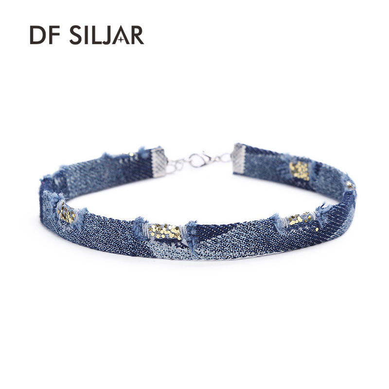 Old Blue Simple Jeans Denim Women Short Collar Choker Necklace Set Retro Punk Tattoo 2017 Elegant Maxi Collier Ras Du Cou Y1764