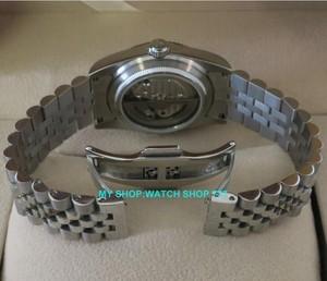 Image 5 - Мужские наручные часы Parnis, автоматические светящиеся часы с сапфировым кристаллом, 36 мм, 21 ювелирное изделие, 5Bar, 10A, 2017
