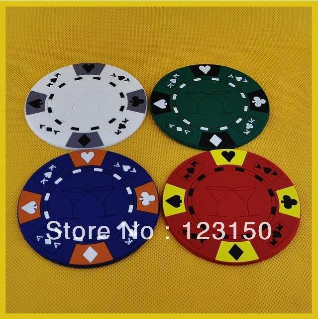 TA-009 Durable Rubber Poker Chip Bar Coaster Set (4 Coasters) in Retail Packaging