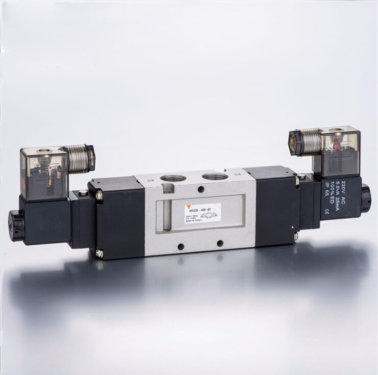 3/8 VF 3 position 5 way pilot-operated type close centre lead wire 300mm loking type B pneumatic solenoid valve coil 220V 5 way pilot solenoid valve sy3220 4g 02