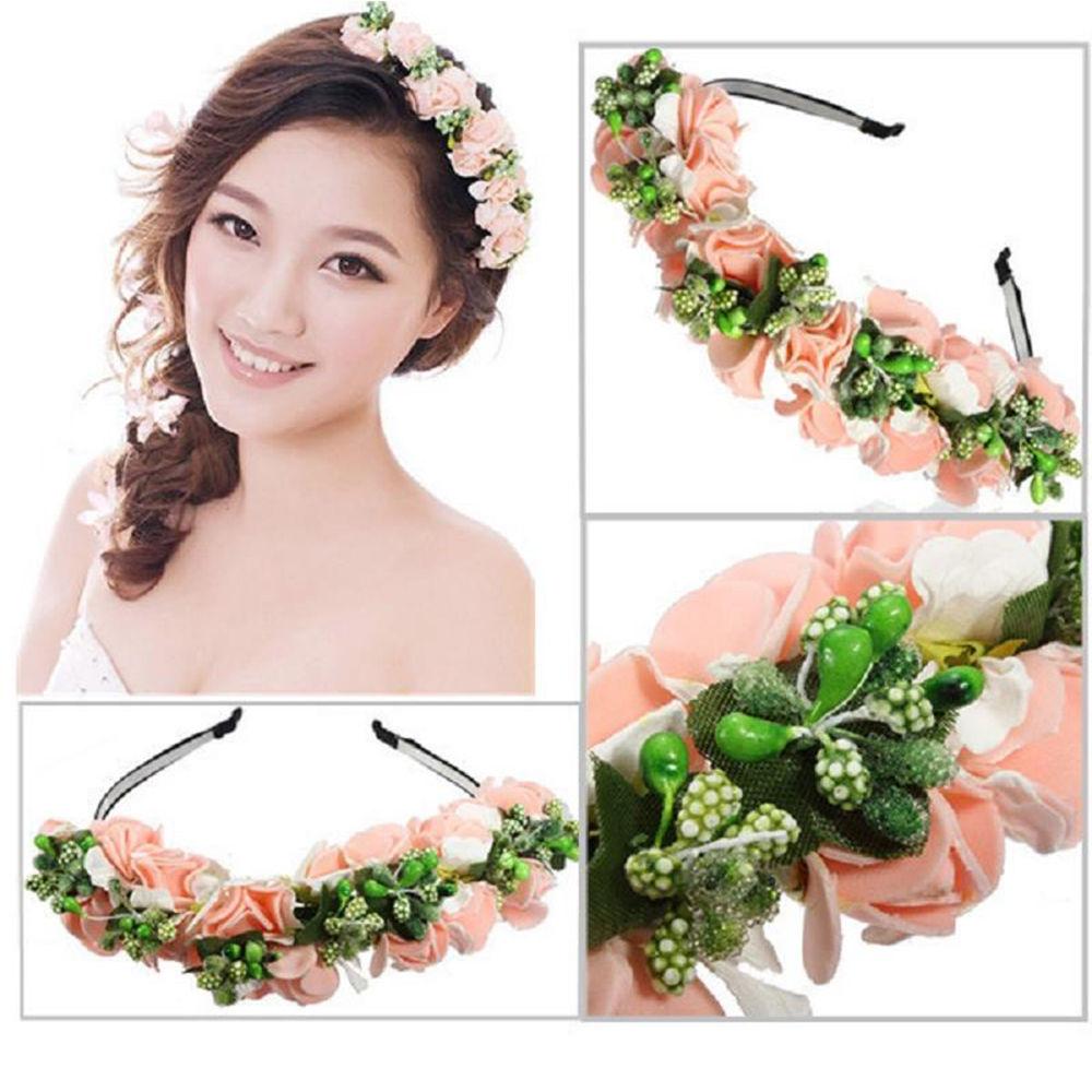 1 Pcs Wedding Party Prom Flower Garland Bride Headband Hairband