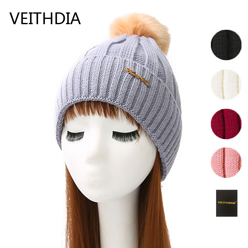 VEITHDIA Mink and fox fur ball cap pom poms winter hat for women girl 's hat knitted beanies cap brand new thick female cap 4 4pcs new for ball uff bes m18mg noc80b s04g