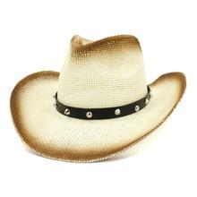 цена на Western Cowboy Hat Summer Straw Hats for Men Women Cool Sun Hat Vintage PU Leather Belt with Rivet Lady Painted Beach Caps