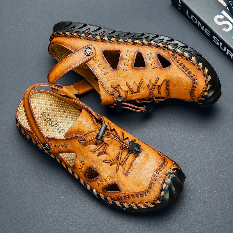 New Casual Men Soft Sandals Comfortable Men Summer Leather Sandals Men Roman Summer Outdoor Beach Sandals Big Size(China)