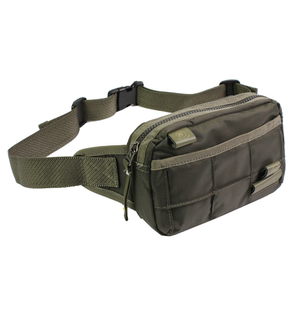 Men Waterproof Nylon Fanny Pack Waist Bag Hip Bum Cross Body Messenger Shoulder Packet Pouch Belt for Travel Military Tactical