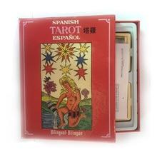 İspan Tarot Board Oyunu yüksək keyfiyyətli kağız 78 + 22 PCS kartları İngilis / Fransız / Astrolog üçün İspan Təlimatları