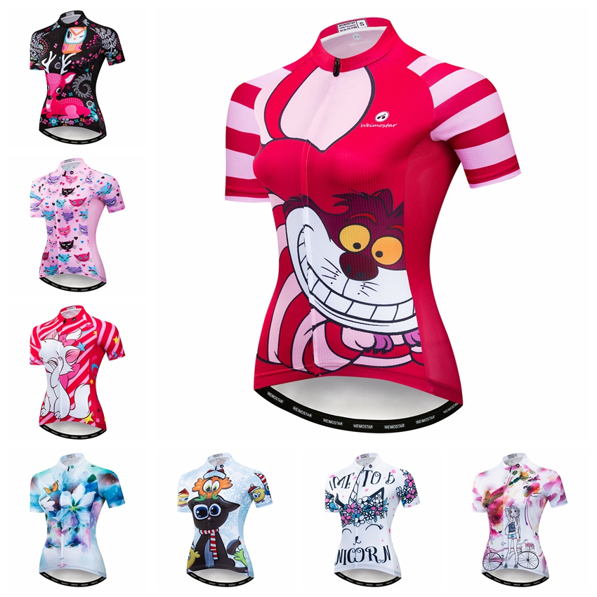 2019 mujeres navy print mejor calidad ligera manga corta Ciclismo jersey ajustado Ropa Ciclismo camiseta para deportes de niña