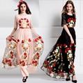 High Quality 2017 Summer Fashion Runway Maxi Dress Women Elegant Lace Half Sleeve Gauze Flowers Embroidery Long Dress S- XXL