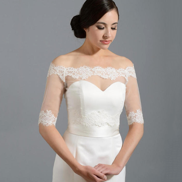 Hot White Ivory Lace Jacket Bridal Topper Wrap Free Shipping Bateau Half