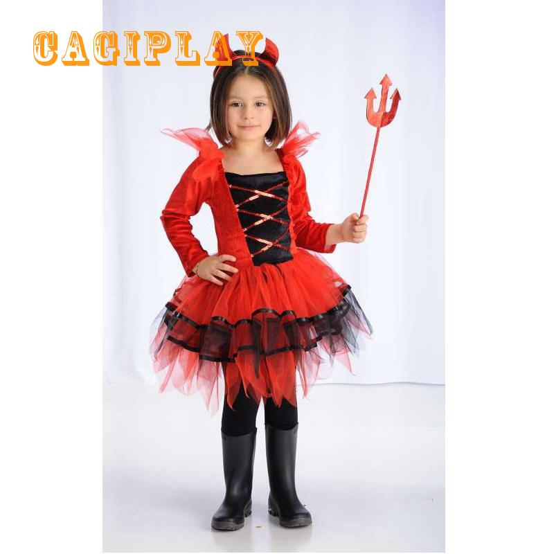 2018 New Kids Carnival Clothing Girls Red Devil Cosplay Princess Dress Party Vestidos Halloween Role Play Costume Age 3-10 Year