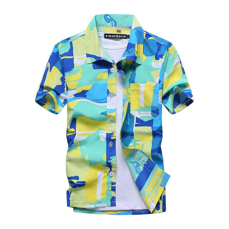قميص رجالي موضة هاواي كاجوال ملون مطبوع للشاطئ قمصان ألوها بأكمام قصيرة مقاس كبير 5XL قمصان هاواي هومبر