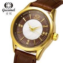 Gucamel relojes de las mujeres vestido de mujer de cuarzo relojes de pulsera de Las Señoras Relojes de moda delicada rhinestone Cuero Relojes A Prueba de agua