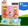 Sapatos Prática de Dependência de madeira Toy Kids Montessori Brinquedos Educativos Cedo Educacional Jigsaw Puzzles Bordo Sapato Rendas para o Menino Menina