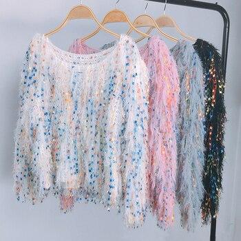 Mohair Comfy Knitwear Tassel Sweaters