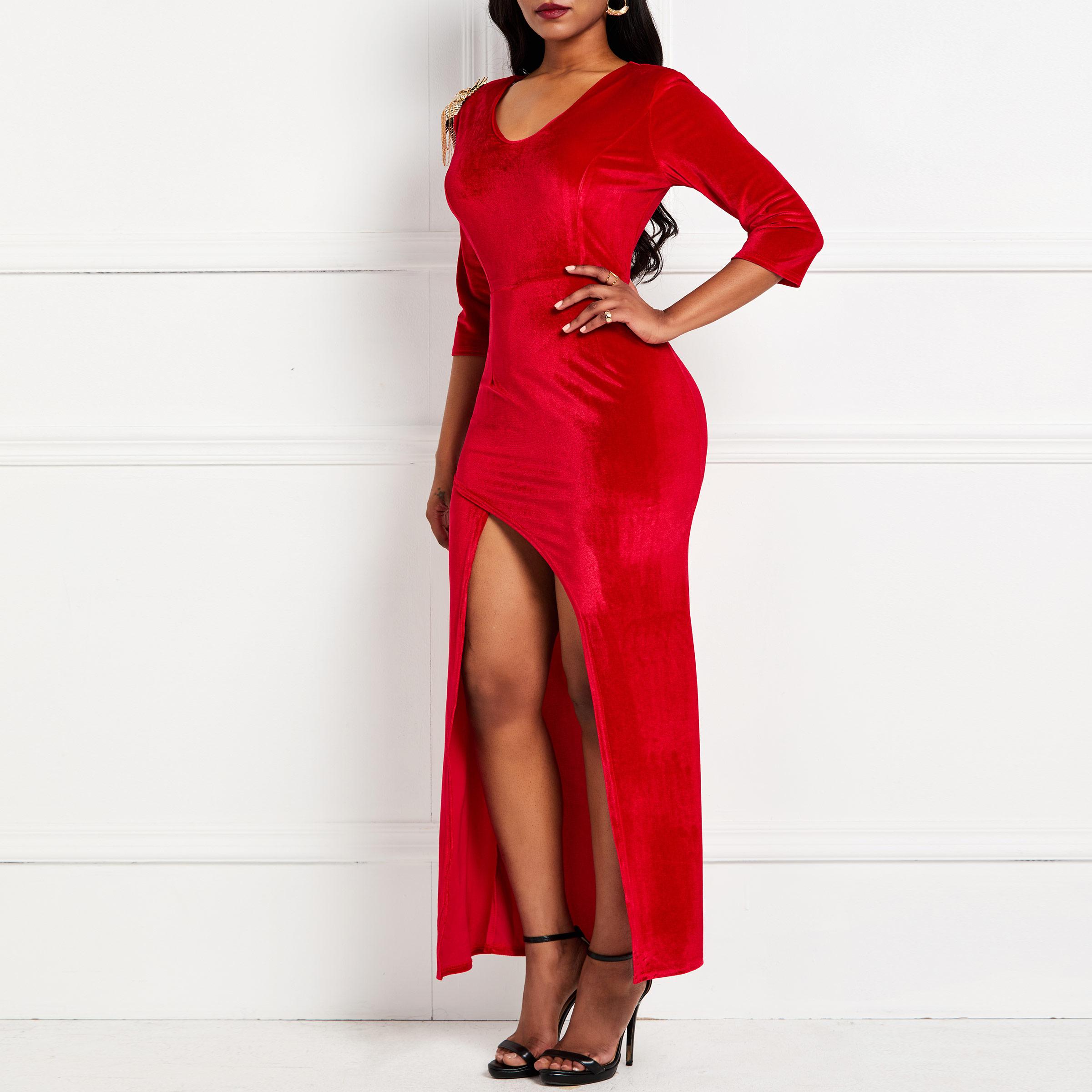 Красное бархатное Макси-платье 2019 Сексуальное вечернее женское роскошное платье с разрезом элегантное для вечеринки и клуба облегающие дл...