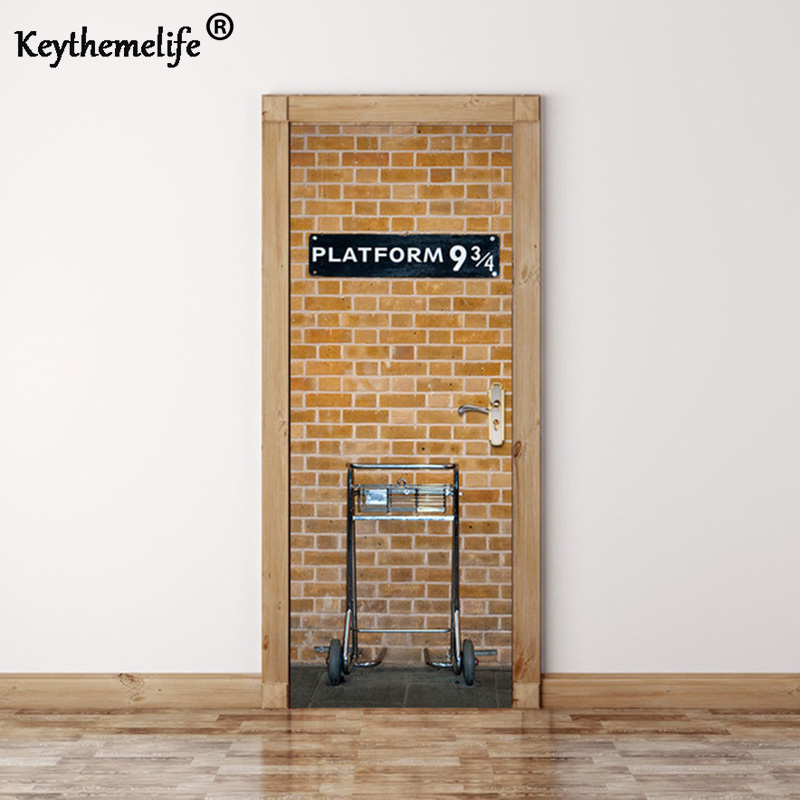 Keythemelife 2 pcs set platform 9 3 4 wall stickers diy for Diy wall photo mural