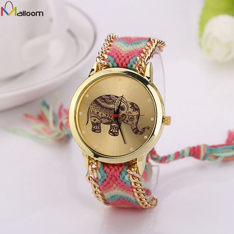 Watch Women Watches Montre Femme Reloj Mujer Elephant Pattern National Weave Gold Bracelet watch Quartz Clock Relogio 10color digital lcd pedometer run step walking distance calorie counter men women watch bracelet watch reloj hombre montre femme