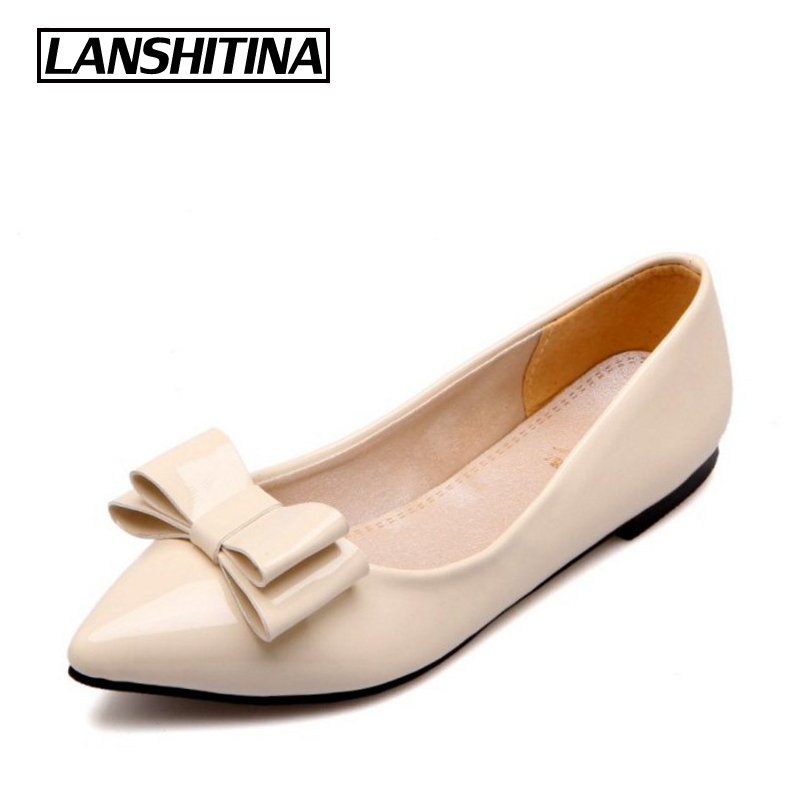 LANSHITINA Big Size 30-49 Women Flat Shoes Bow Cute Pointed Fashion Ladies Spring Summer Fashion Chaussure Femme Boat Shoes 777 weweya 2017 summer candy colors ladies flats fashion pointed toe shoes woman new flat shoes women plus size chaussure femme
