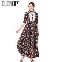 Clonop Women Spring Maxi Dress 2018 O neck Half Sleeve Rose Floral Print Long Party Dresses Casual Elegant Vestidos Robe Femme
